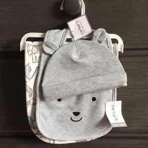 NWT baby hat, bib, and burp cloth